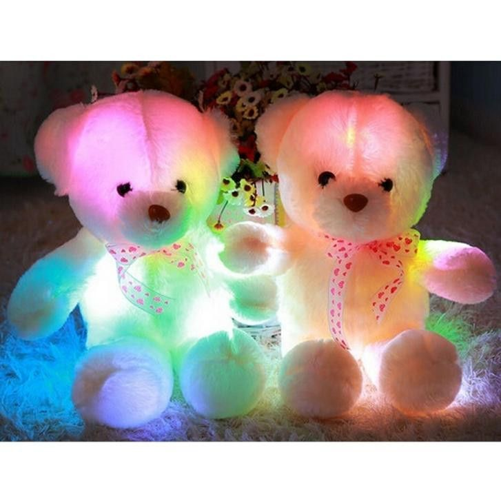 Small LED Teddy Bear Stuffed Animal Plush Soft Hug Toy Baby Girls Gift