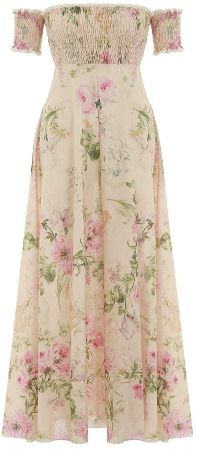 36e67d592130 Zimmermann Iris Shirred Bodice Long Dress in Cream Floral | Products ...