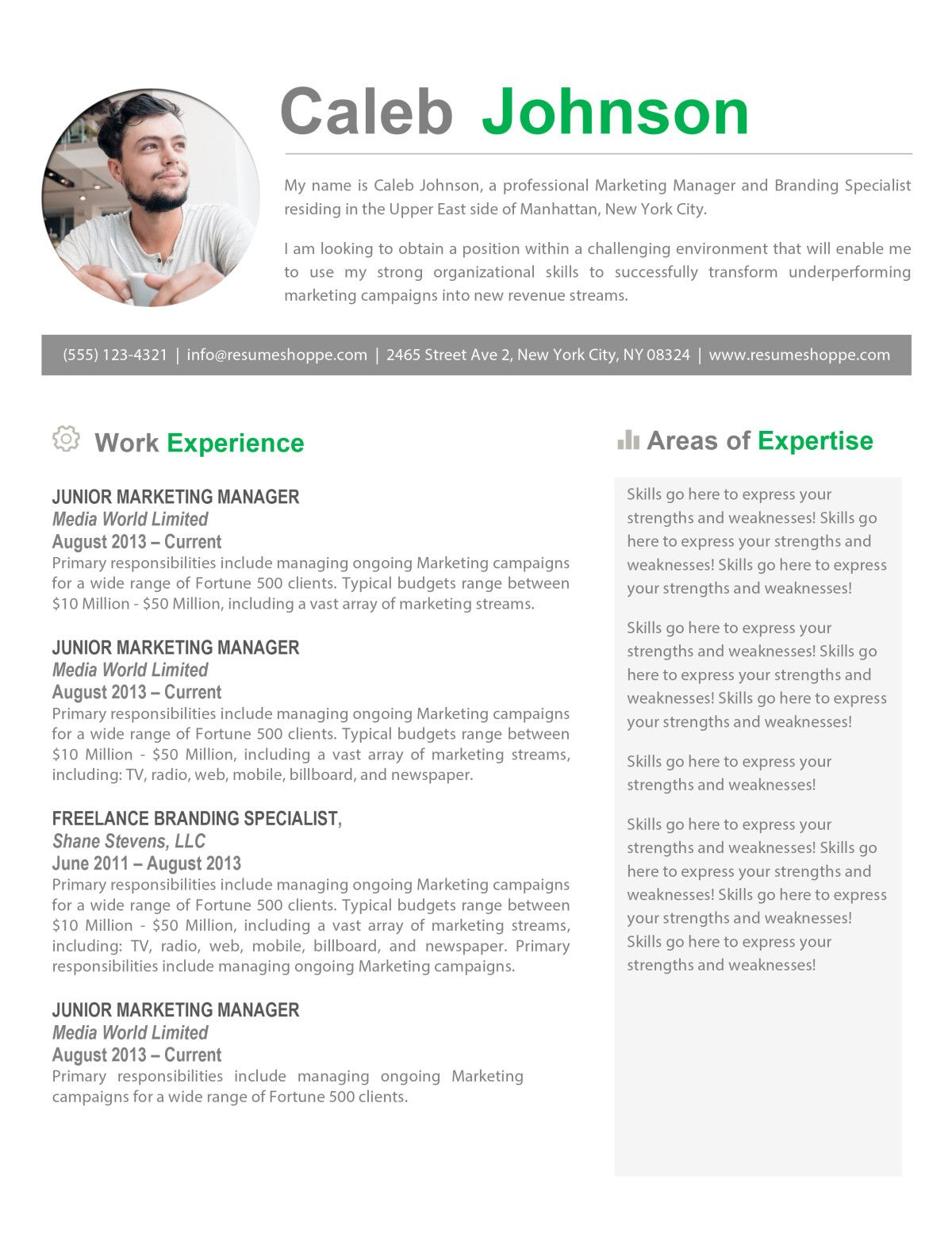 The Caleb Resume   Resume Shop