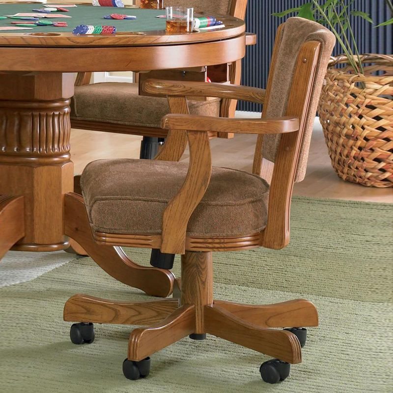 Oak Finish Wood Upholstered Seat Back Dining Game Arm Rolling Chair With Casters