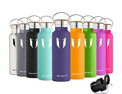 98ec764c71 Super Sparrow Stainless Steel Vacuum Insulated Water Bottle, Double Wall  Design,Standard Mouth -