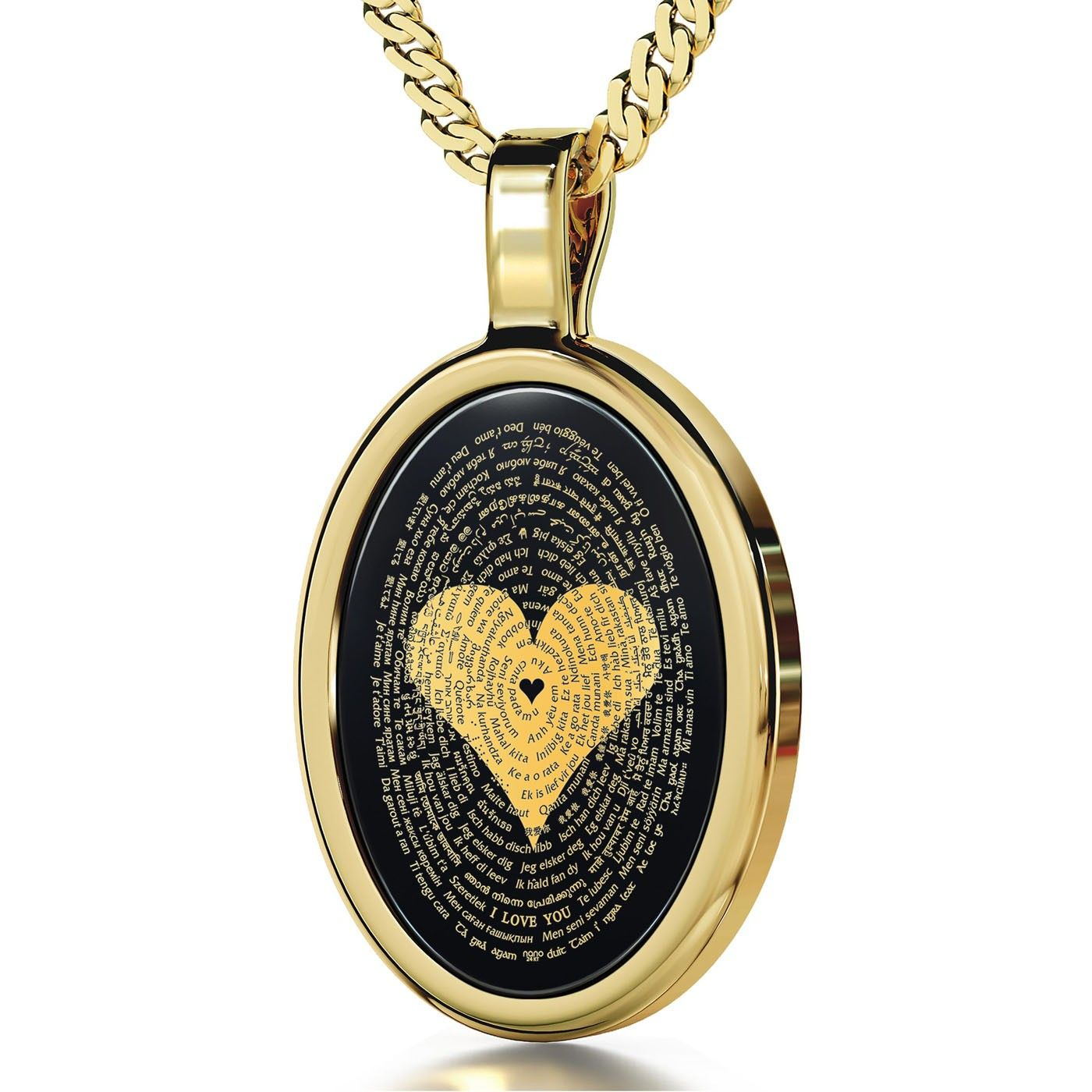 """24K Gold Plated and Onyx Necklace Micro-Inscribed with 24K Gold Heart and """"I Love You"""" in 120 Languages_0"""