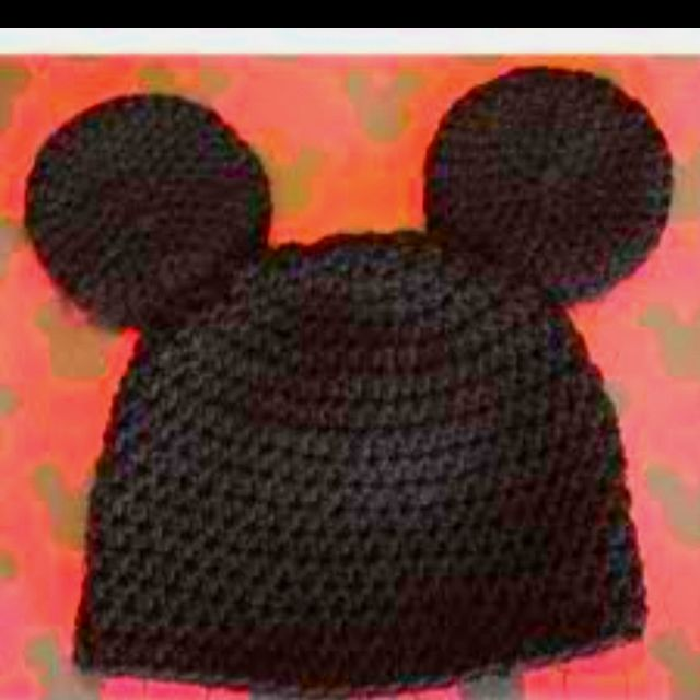 Mickey Mouse  croshay beanie I thought that you Could even make a iPod case out of black duck tape made like Mickey mouse
