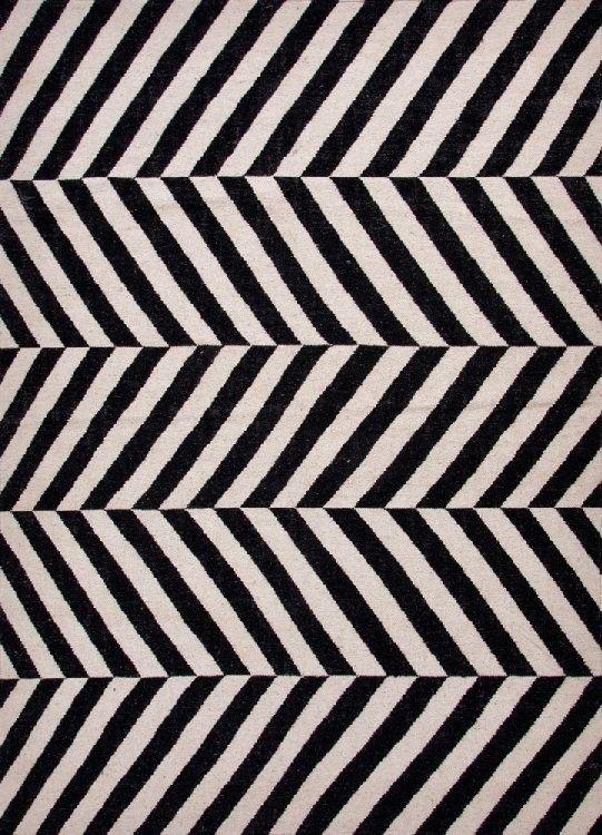 Herringbone Moroccan Salma Wool Rug Black White Geometric Rug Flat Weave Wool Rug Flat Weave Rug