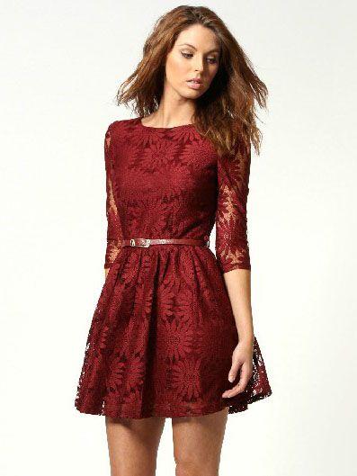 Wine Red Zipper V-back Sunflower Lace Skater Dress - Sheinside.com