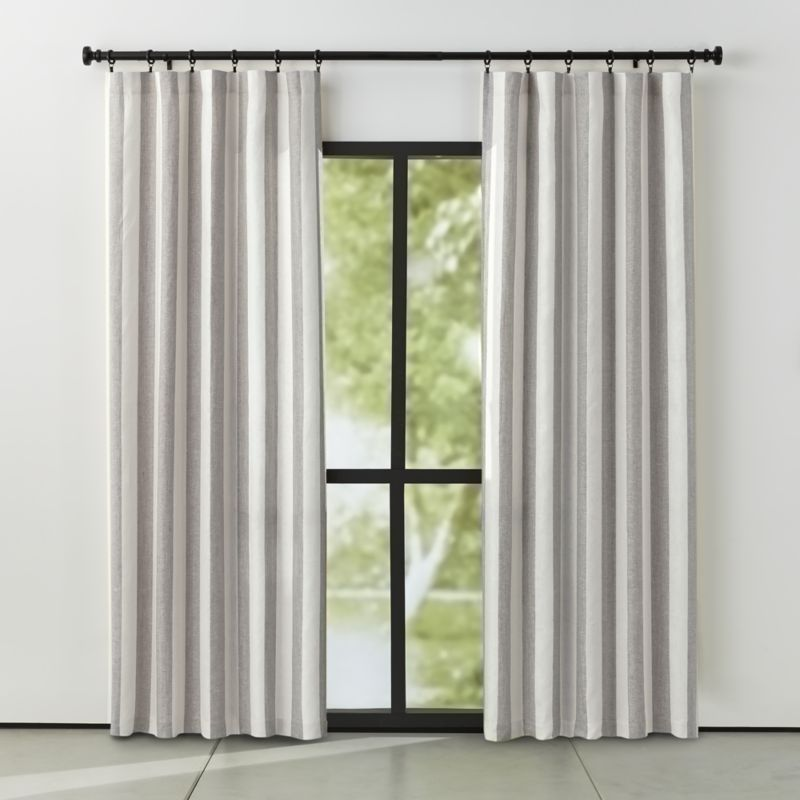 Shop Willis Grey Striped Curtains Alternating Bands Of Grey And Off White Offer A Fresh Take On Traditional Stripes Taupe Curtains Curtains Taupe Living Room #off #white #living #room #curtains