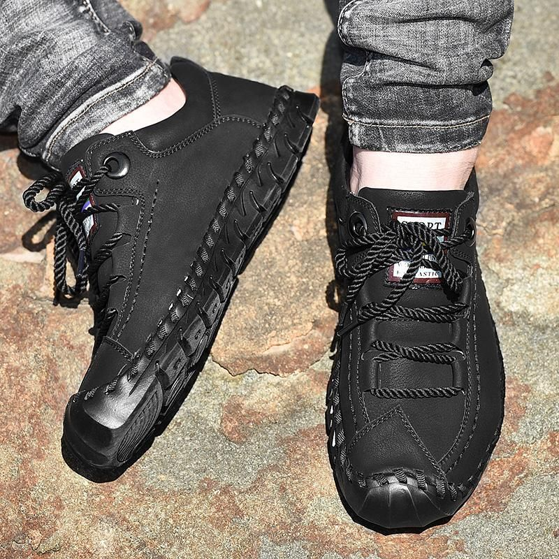 Men/'s Casual Lace Up Flat Shoes Fashion Hiking Leather Shoes Walking Sneakers