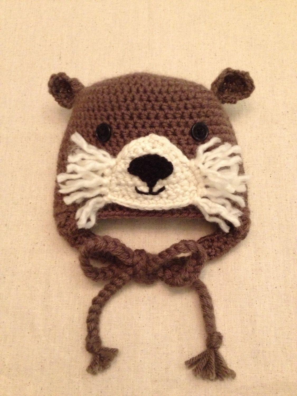 3-6 month Crochet Otter Hat | Mütze häkeln, Baby geschenke und Mütze