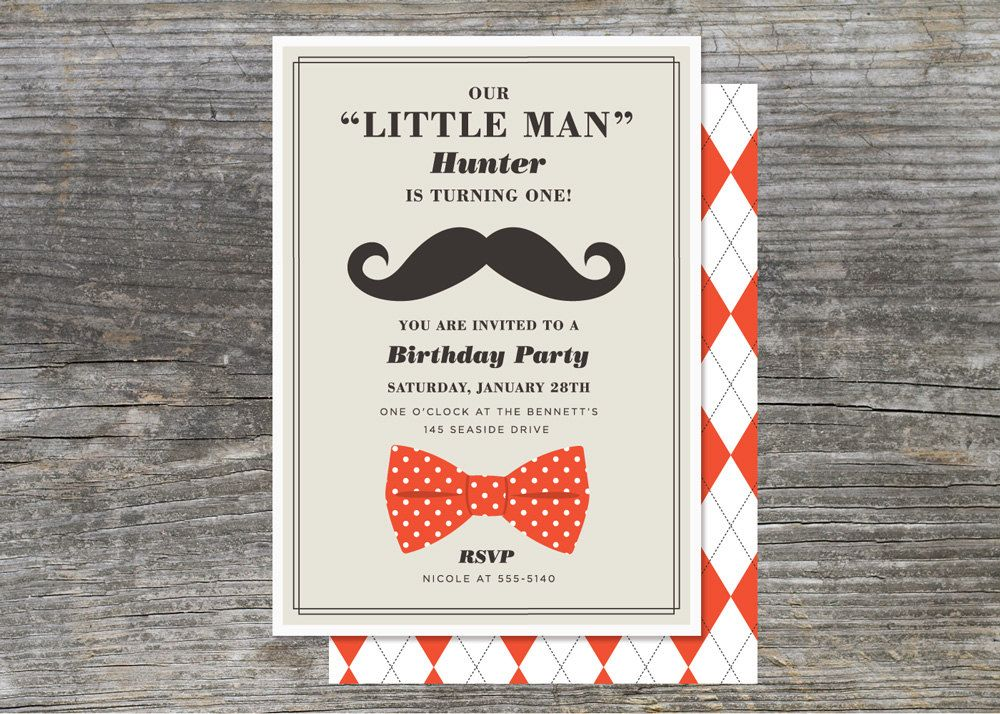 Little Man Party Invitation First Year Birthday 15 2835 via – Little Man Mustache Party Invitations