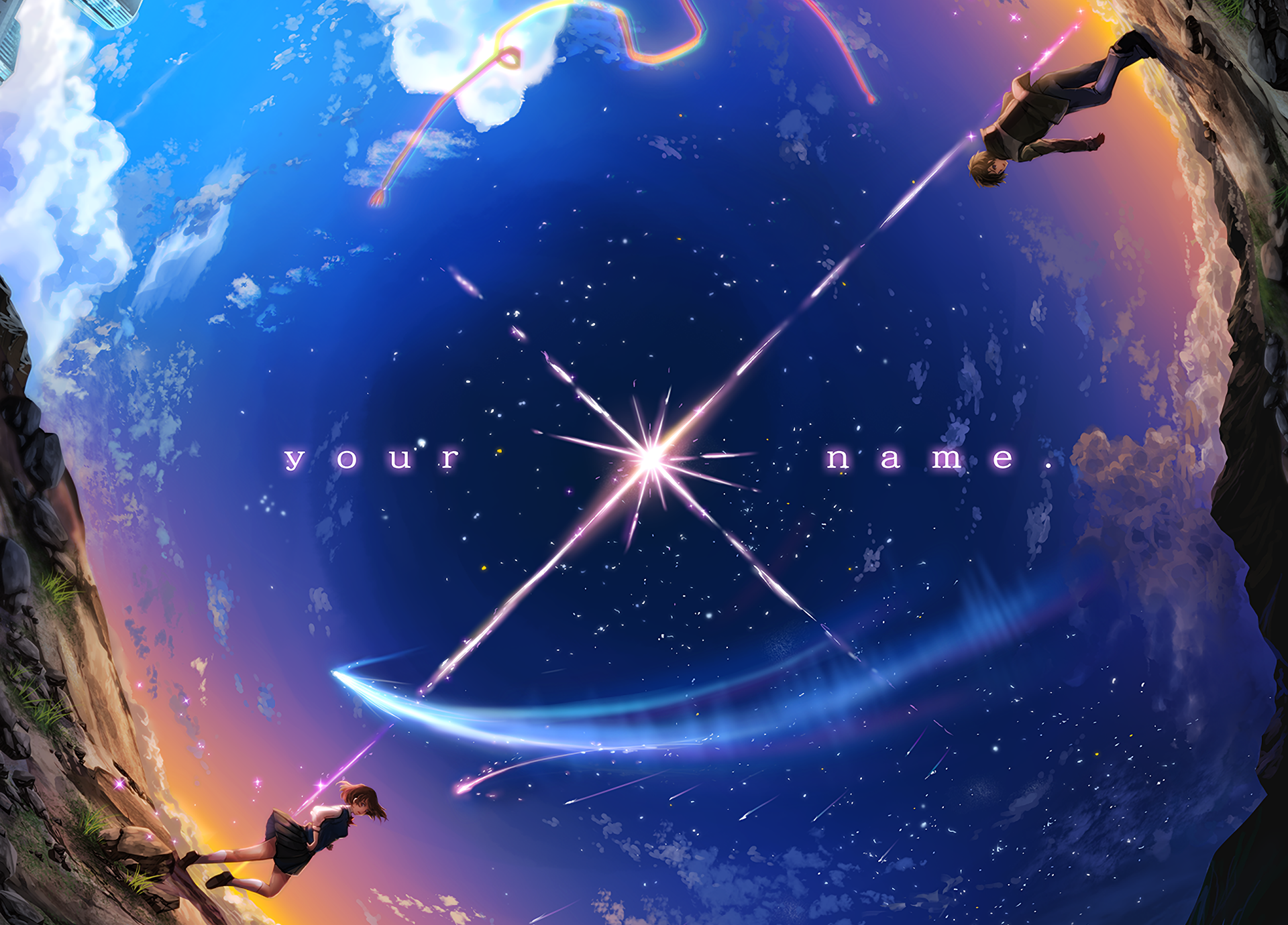 Anime Your Name. Mitsuha Miyamizu Taki Tachibana Kimi No