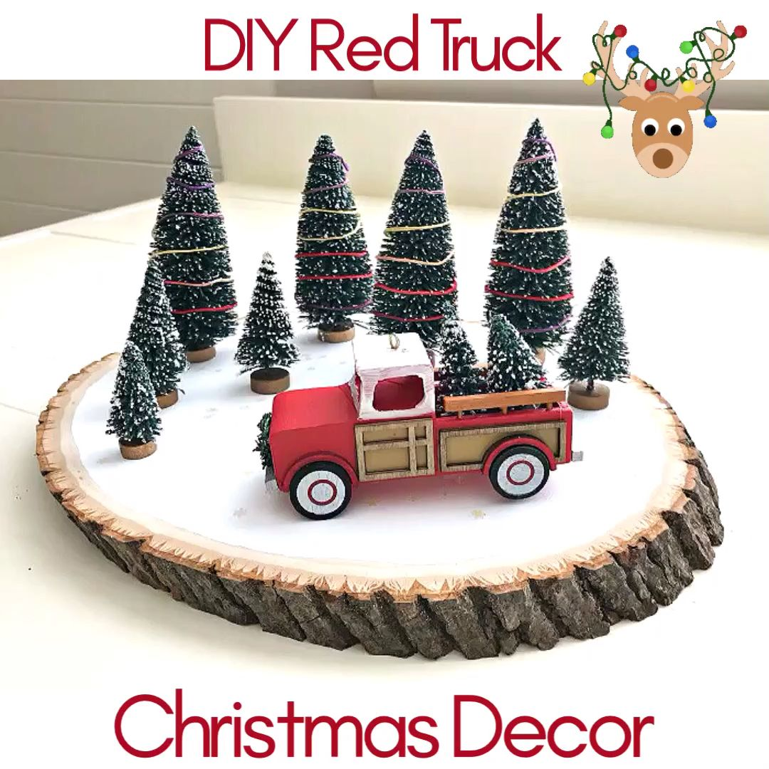 Quick & Easy Red Truck DIY Christmas Centerpiece Idea - Abbotts At Home #diychristmasdecor