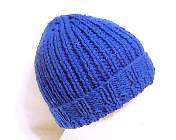f3d95b69e21 Men knit hat in royal blue fisherman hat men by HandmadeTrend ...