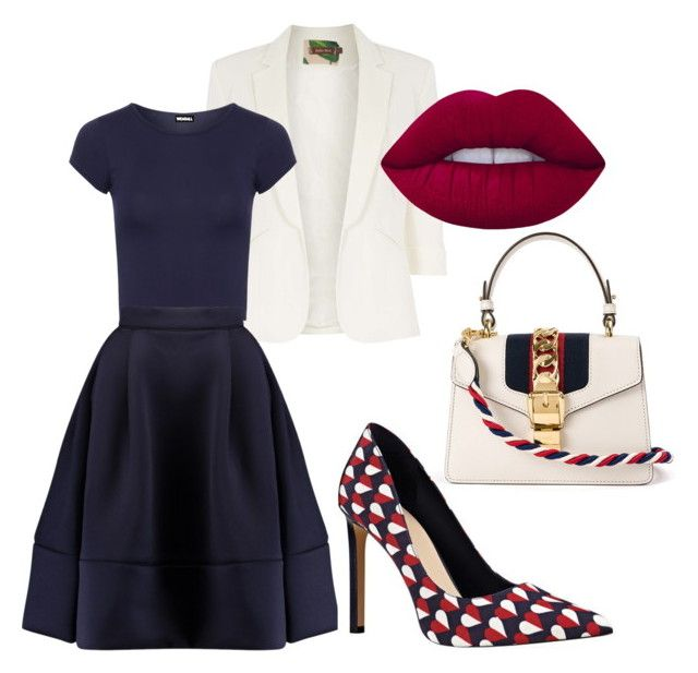 """""""Skirt #3"""" by aleks-stanisavljevic ❤ liked on Polyvore featuring Jolie Moi, WearAll, Lime Crime, Maje, Nine West and Gucci"""