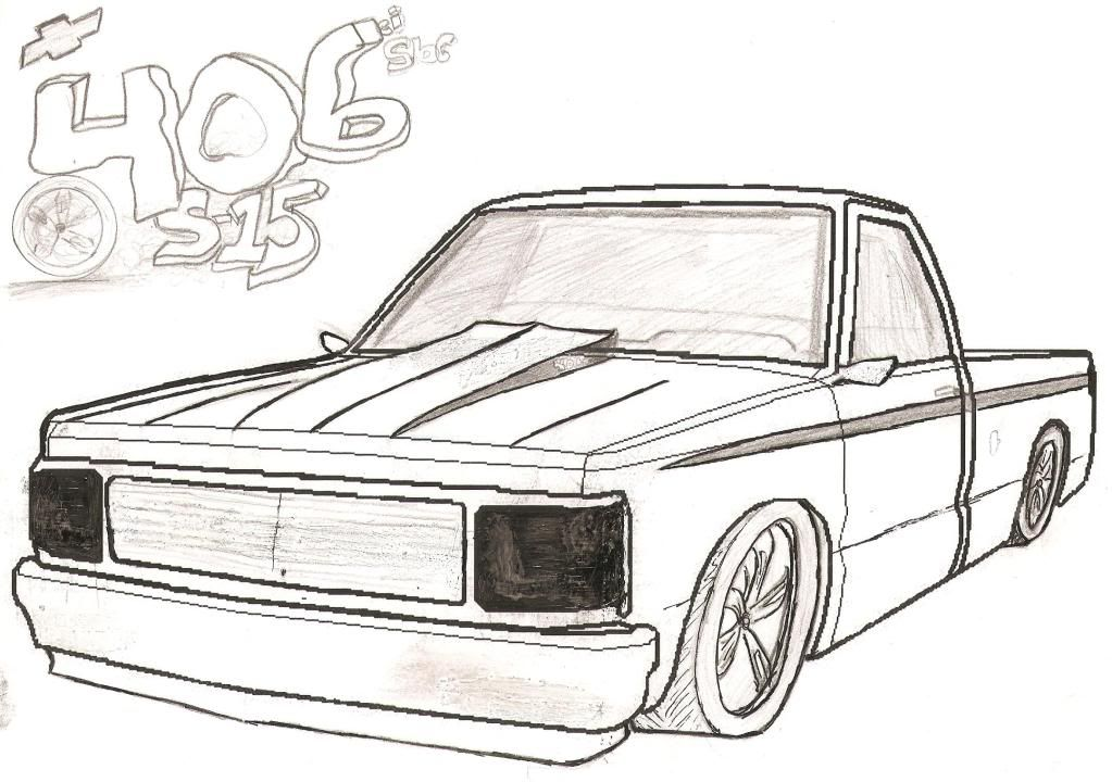 lifted chevy truck outline drawing