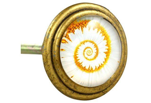 S/4 Vintage Brass Knobs, Flower