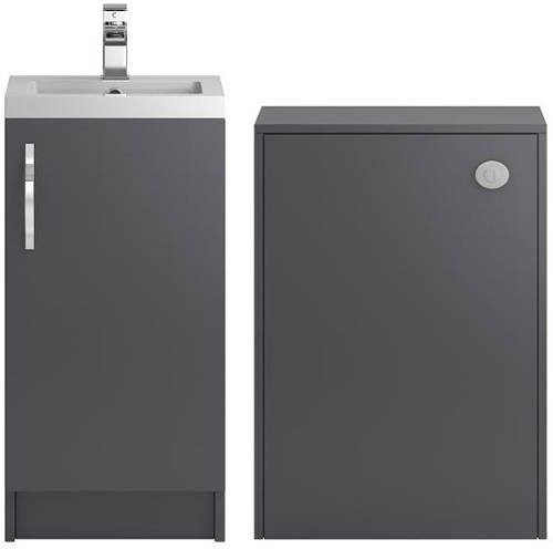 Hudson Reed Apollo Bathroom Furniture Pack In Gloss Grey 400mm Floor Standing Vanity Unit With