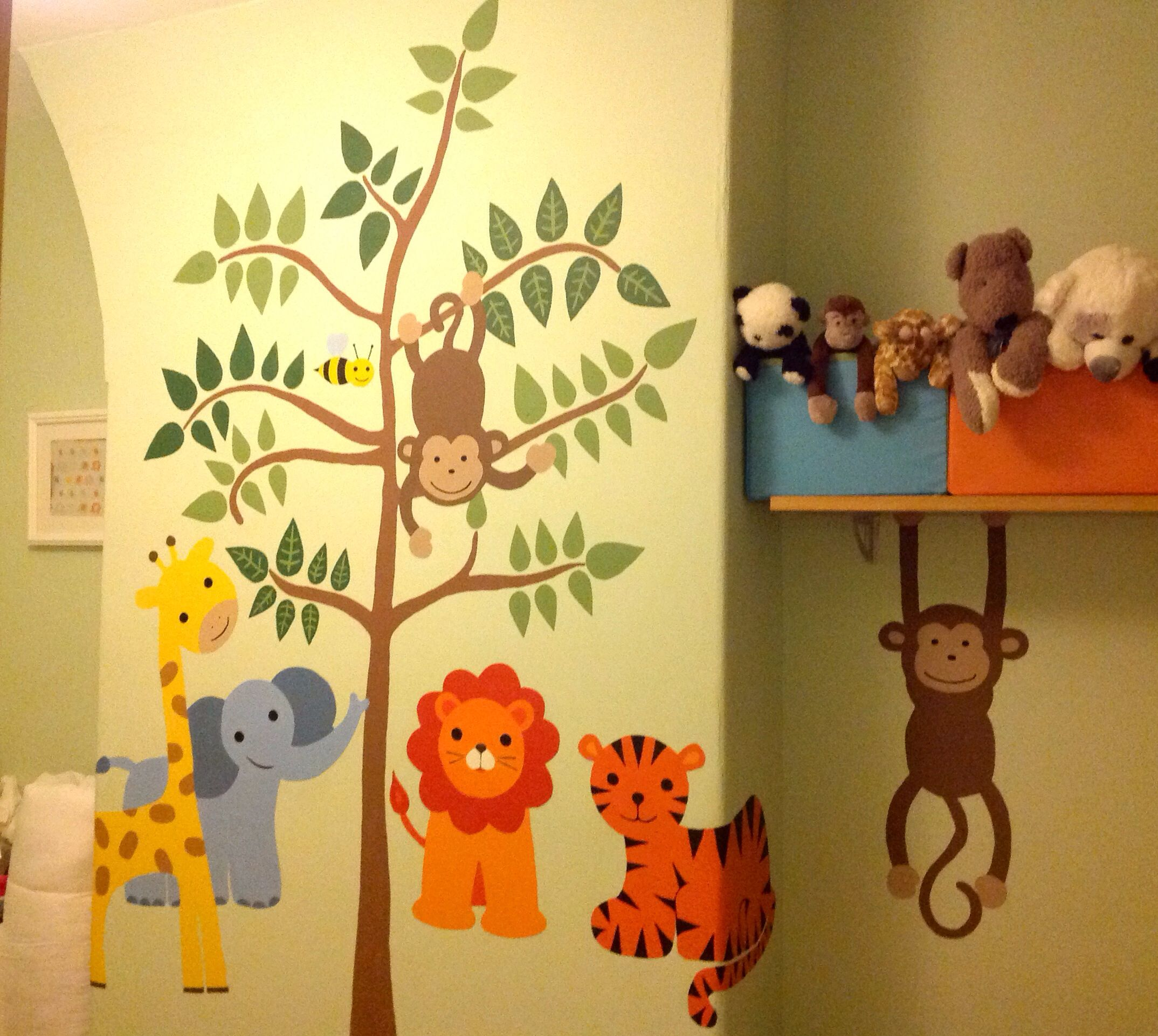 Almost Finished Mural In Babys Room Safarijungle Animal Theme All