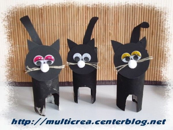 les chats noirs d 39 halloween bricolage paper roll crafts and scrapbooking. Black Bedroom Furniture Sets. Home Design Ideas