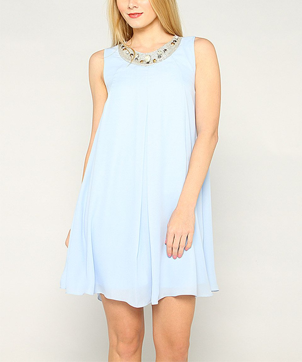 Another great find on #zulily! Sky Blue Sleeveless Shift Dress by Soiéblu #zulilyfinds