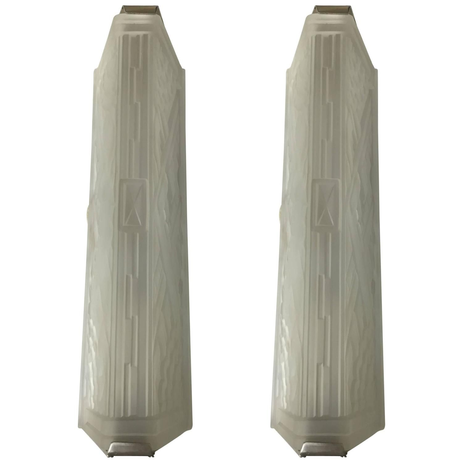 Incredible Pair of French Art Deco Wall Sconces