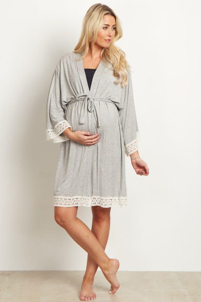 Grey Crochet Trim Maternity Delivery/Nursing Robe   Pregnancy ...