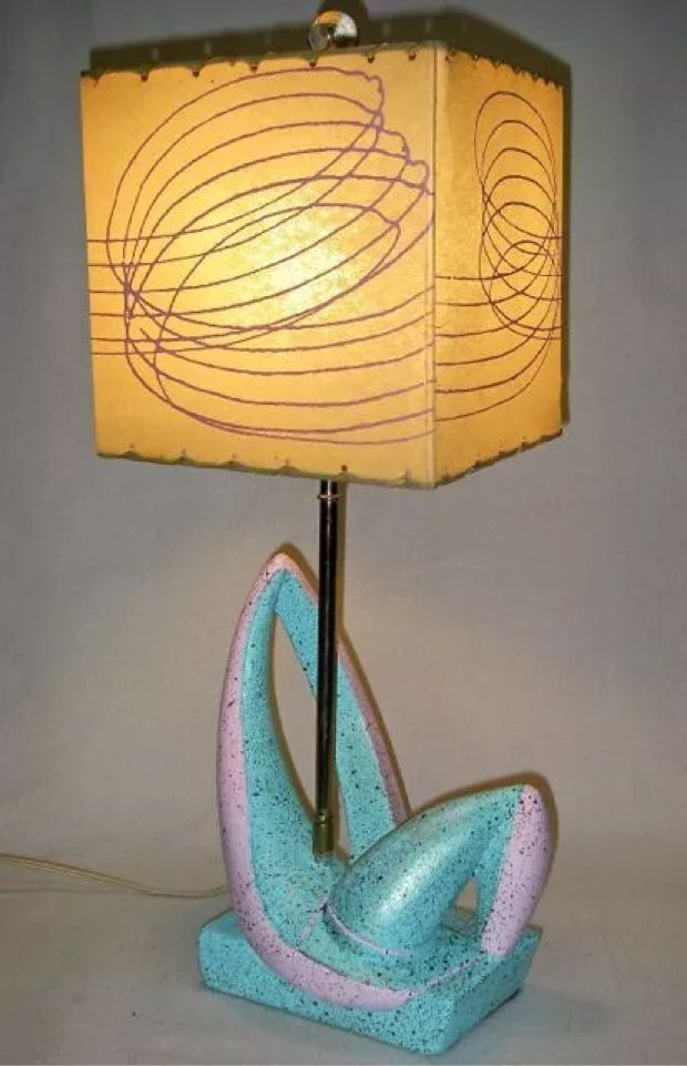 Wacky Lamps 50s abstract sculptural mid century deco atomic plaster fiberglass