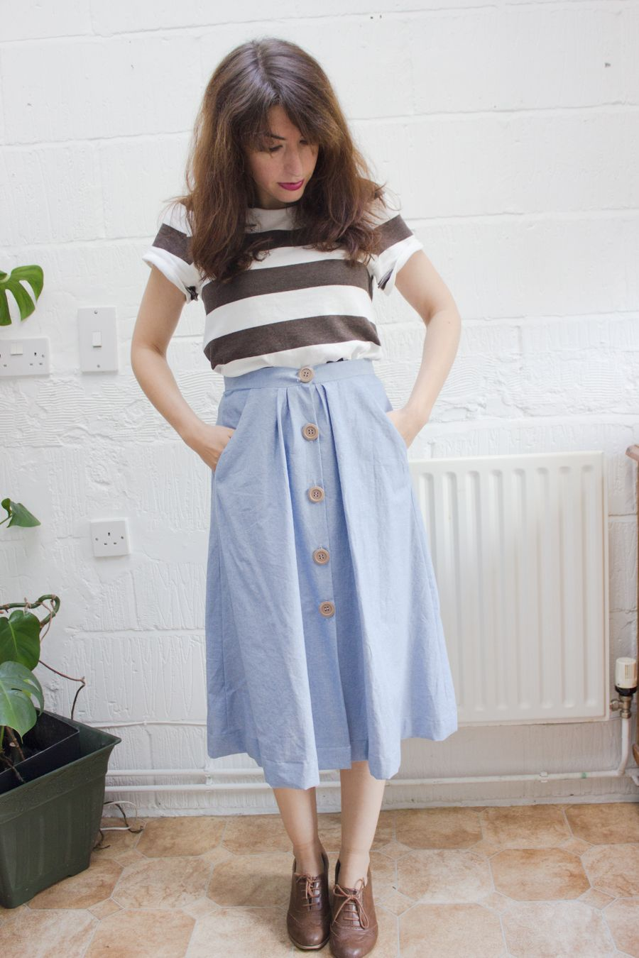 vintage chambray midi skirt with buttons | Style | Pinterest