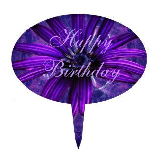 Purple Daisy Passion happy birthday Cake Topper