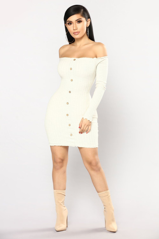 Jacklyn Off Shoulder Mini Dress Oatmeal Fashion nova