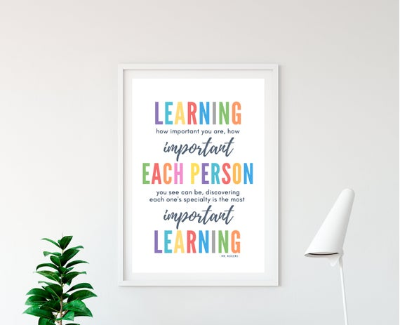 Mr Rogers Quotes Growth Mindset Art Colorful Printable Wall Art Pastel Classroom Decor Educational Posters Teacher Digital Download Education Poster Printable Wall Art Wall Printables