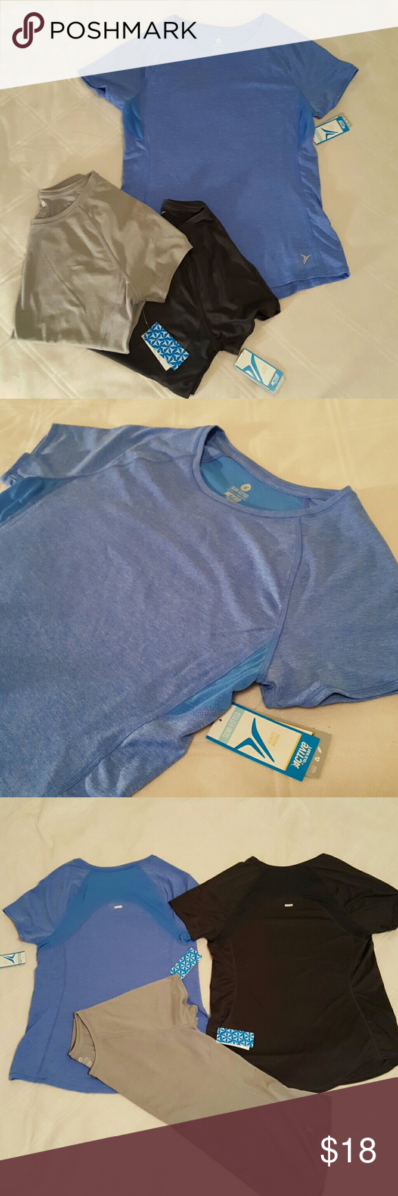"""NWOT Workout Shirts Lot of 3 Semi-Fitted Active workout shirts from Old Navy! NEVER WORN and still have original tags! GoDRY Moisture-Wicking, Soft, sporty feel of workout gear and Lightweight Very cute and comfy! All 3 shirts are the same cut and size but different colors Perfect for working out and neutral enough to wear with your current gear.  Great """"Athlesure"""" look as well- great for relaxing or running errands! All 3 shirts for the price of 1 :) Old Navy Tops"""