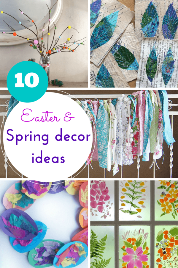 Spring & Easter ideas for DIY decorations: beautiful wreaths, flowers, garlands, banners & artwork to decorate your home.