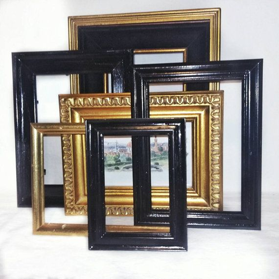 Vintage Gold Frames/Black Picture Frames/Gallery Wall Frame Set in ...