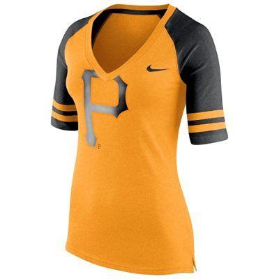 premium selection e09a8 156d8 Nike Pittsburgh Pirates Women's Yellow Logo Fan 1.4 V-Neck T ...