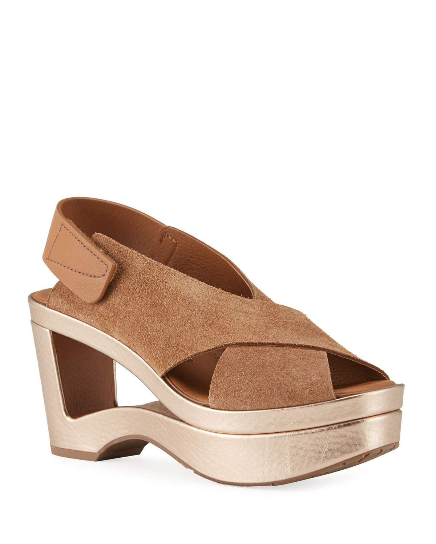 Pedro Garcia Fidelina Metallic Cutout Wedge Sandals Pedrogarcia Shoes In 2020 Wedge Sandals Pedro Garcia Brown Wedge Sandals