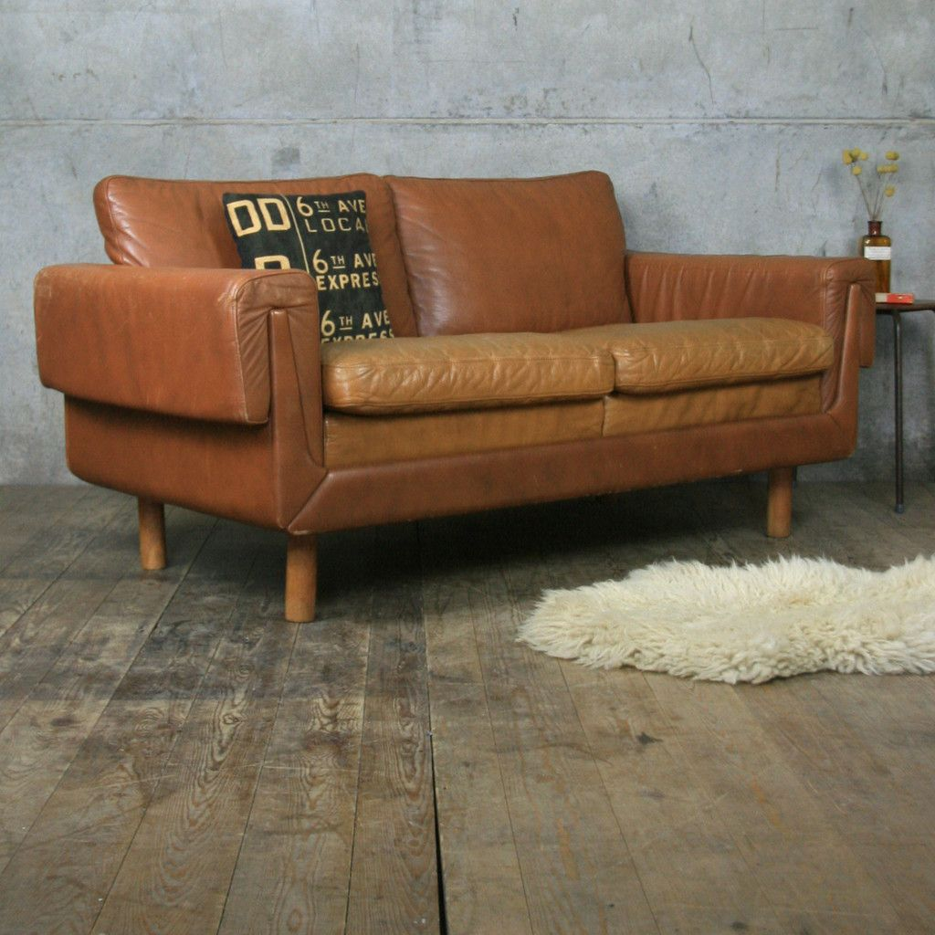 Midcentury Danish Two Seater Leather Sofa