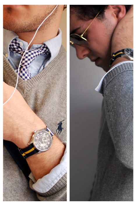 The watch & the tie.