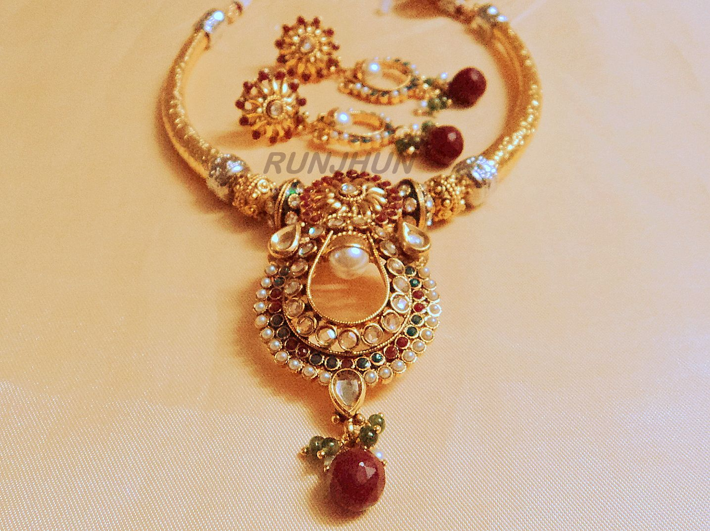 Royal Polki Hasli Necklace with Earrings jewellery Pinterest