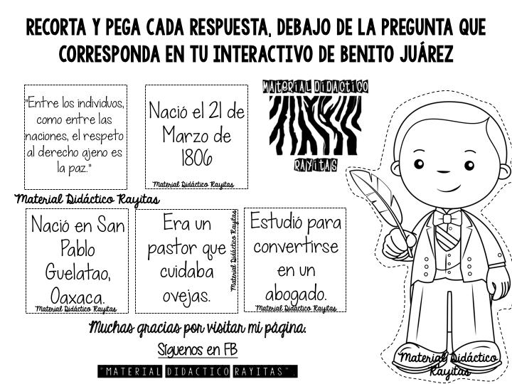 Maravilloso Material Interactivo De Benito Juarez Educacion Primaria Texto Informativo Actividades Ludicas Para Ninos Benito Juarez Para Ninos