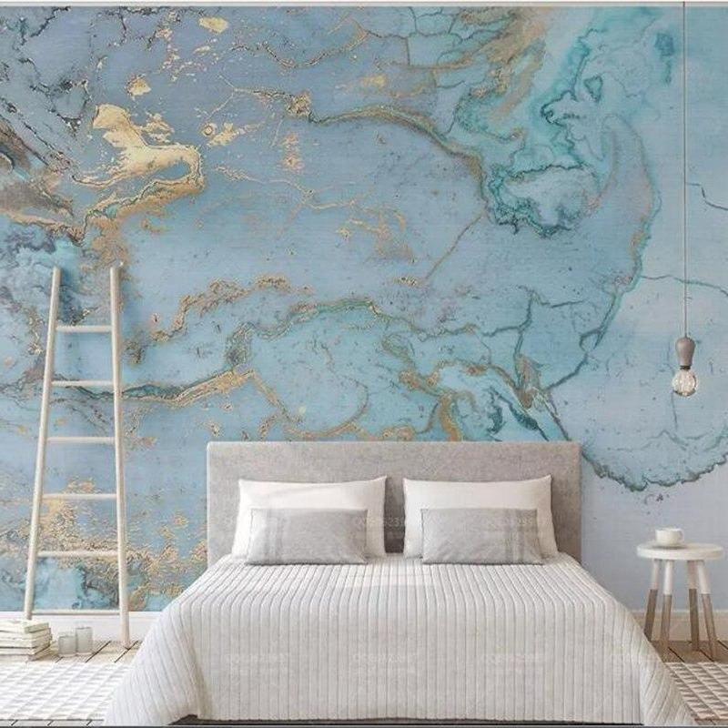 Fashion Wallpaper Mural Blue Gilding Texture Wallcovering Bedroom Wallpaper Texture Wall Decor Bedroom Bedroom Wall