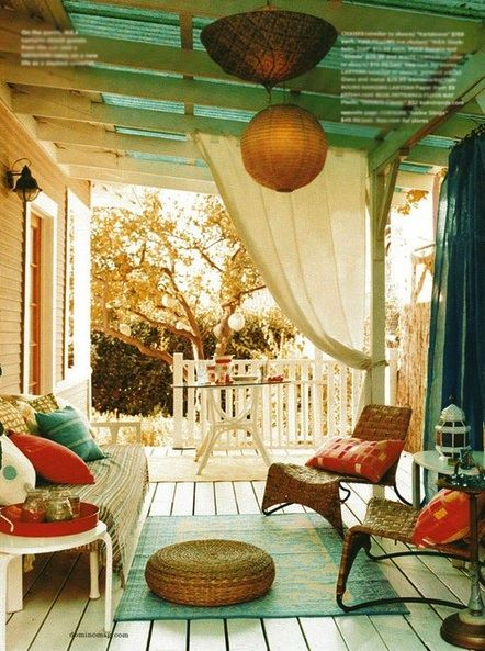 love these kind of chairs and curtains for the patio