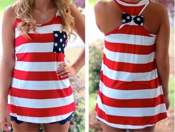 72cc40a3a81 4th of July Bow Back Tank Top, Red White and Blue, Woman's Tank Top ...