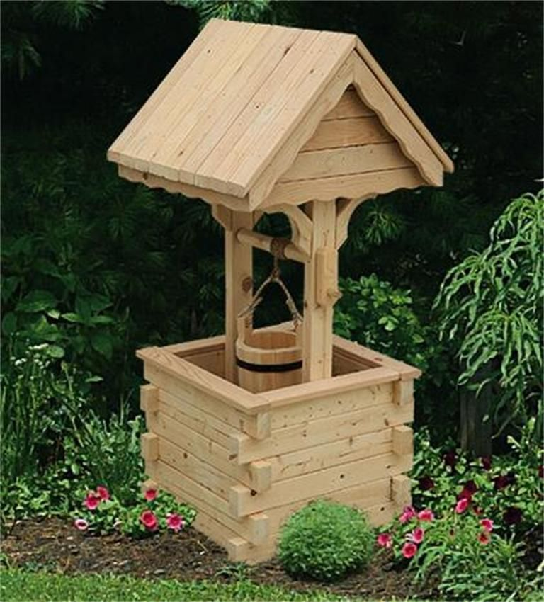 Amish outdoor wooden wishing well with pine roof jumbo for Garden wishing well designs