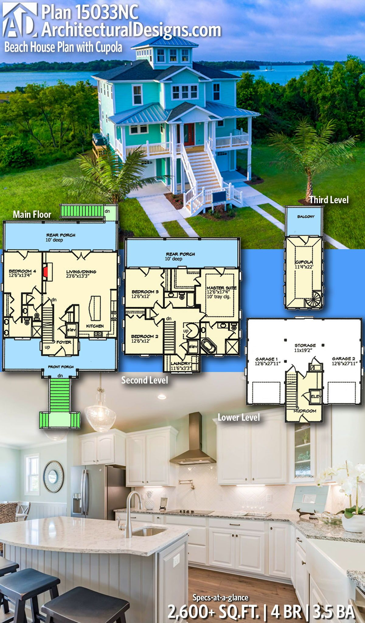 Plan 15033nc Beach House Plan With Cupola Beach House Floor Plans Beach House Plan Beach House Flooring