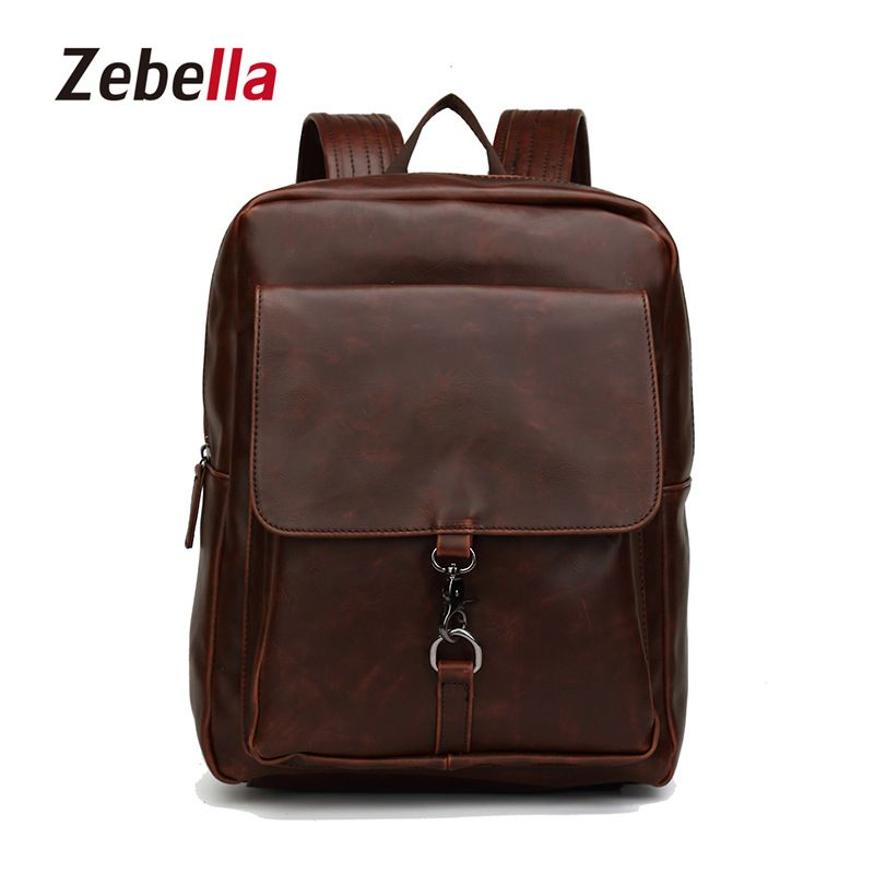 Zebella 2017 Fashion Male Business Bag Travel Bags Teenagers School Bags PU  Leather Men Bacpack For b4a9261f97