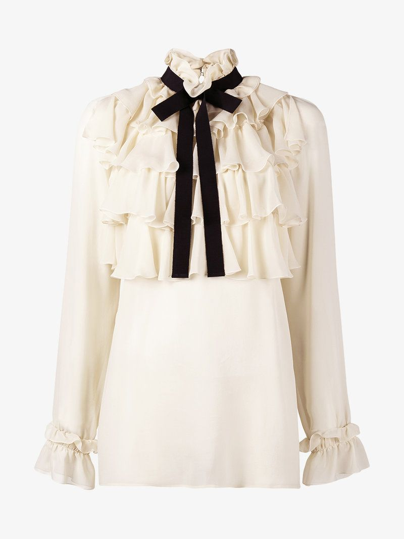 27e5f478006 GUCCI Ruffled Silk Georgette Shirt With Bow