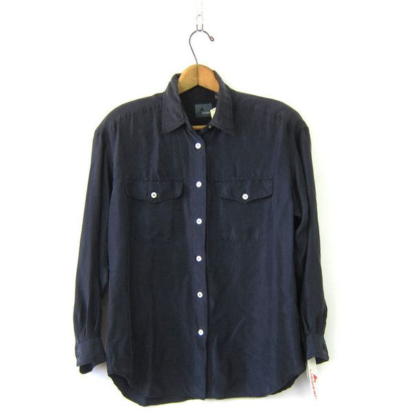 a92bcf74 Black Silk Blouse Slouchy Button Up 90s Silk Shirt Minimal Loose Fit... (