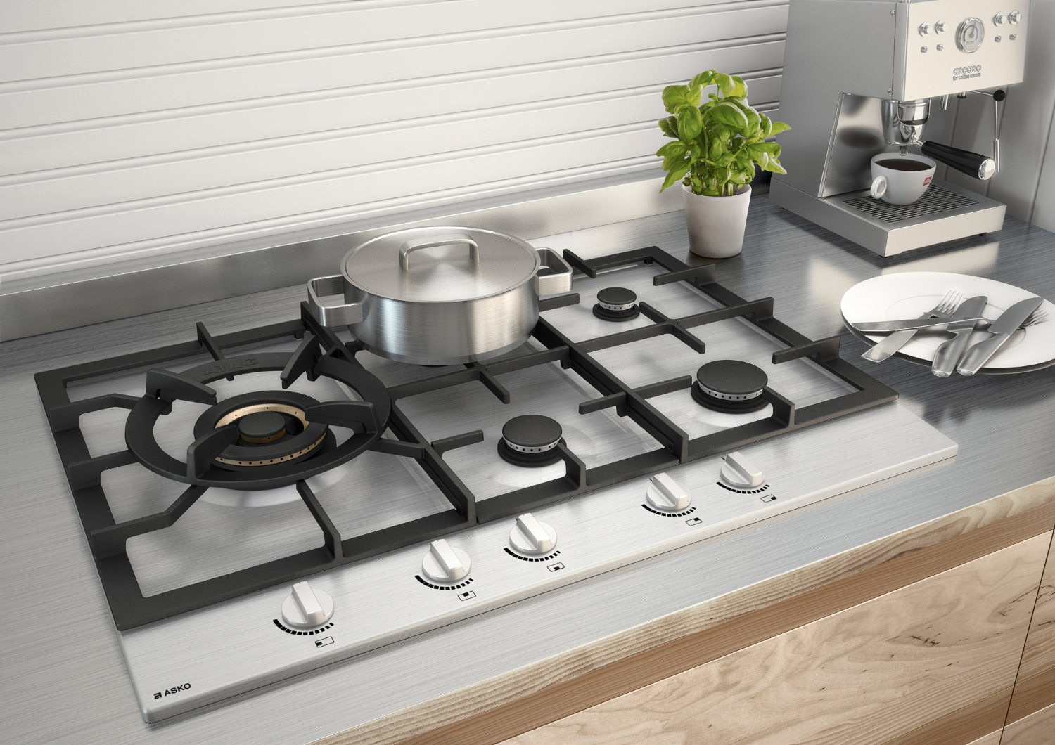 Gas cooktops - Stainless gas cooktops and wok burner - Asko ...