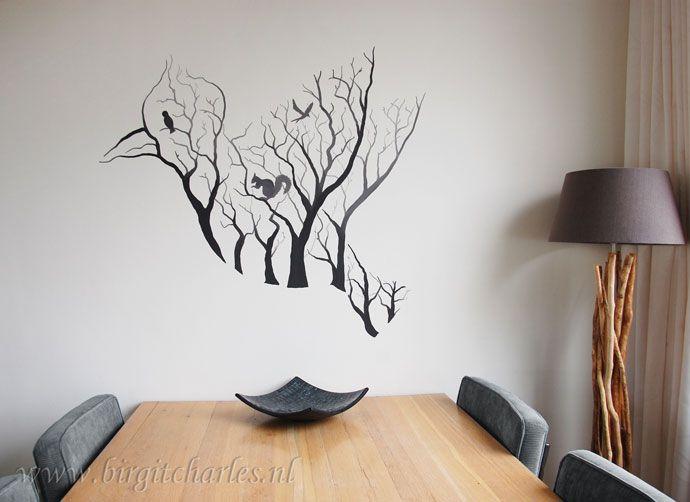 Muurschildering woonkamer, zie website voor meer info. Vogel ...
