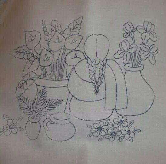 Vendedora de flores  cuadros  Pinterest  Flores Repujado y Bordado